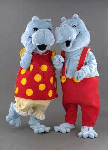 location mascotte couple hipopotame n°129/130